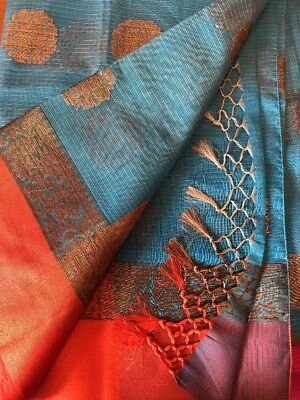 Blue Banaras Cotton Silk Saree With Blouse And Fall Stitched Size 34- 40