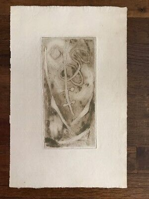 Abstract Wood Block  Linocut Print Mid Century Brown Shapes Watermarked Paper Block Print Paper