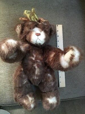 """Annette Funicello Brown White Spots Teddy Bear 14"""" Jointed"""