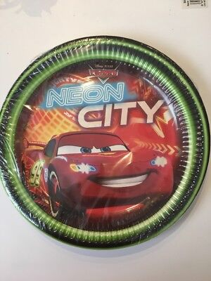 Disney Pixar Cars Neon City Party Plates Pack Of 8 Plates 9""