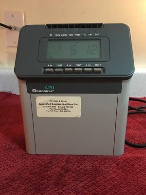 Acroprint 420 Time Recorder Clocking In Machine - For Parts Or Repair