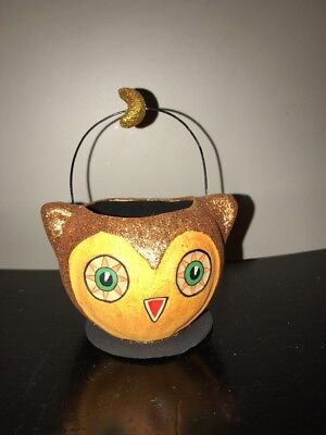 """3"""" Halloween Owl Glitter Candy Container By Bethany Lowe"""
