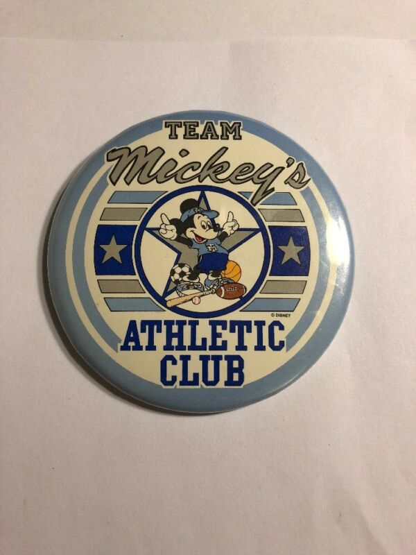 Vintage Disney Mickey's Athletic Club Pin Back Button DS9 $Price Drop