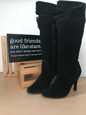 Audrey Brook For DSW Black Suede Leather Tall Fashion Heel Boots 10M PreOwned (Dsw Shoes Boots)