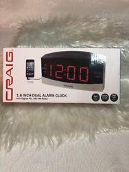Craig 1.8 Inch Dual Alarm Clock W/ Am/fm Radio Free Shipping