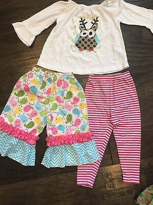 18 Mo / 2T Ruffle Shirt sleeves Pants Outfit Lot Of 3, Behave, Fireflies, Owl