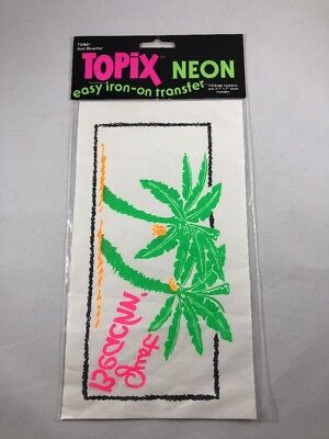 """Vtg 1989 TOPIX Neon Iron-on Transfer 3.5""""x 7"""" Just Beachin NOS 80s Fashion TXN01"""