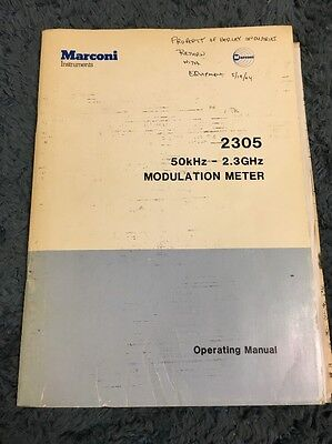 Marconi Instruments 2305 50khz-2.3ghz Modulation Meter Operating Manual