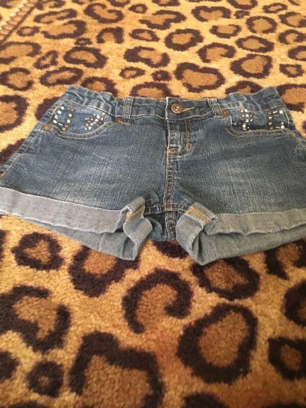 Arizona Jeans Shortie Girls Cuffed Blue Denim Jean Shorts Sz 12 REG