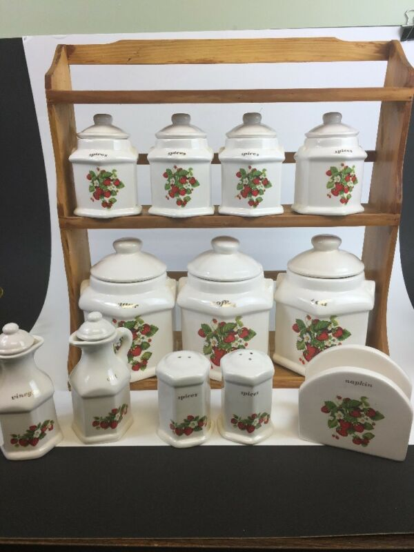 20 Piece Ceramic strawberry canister set