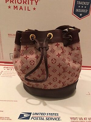 LV Louis Vuitton Red Mini Lin Small Drawstring Bag Purse wallet SEND ALL OFFERS
