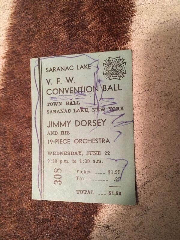 1940s Or 50s Jimmy Dorsey Orchestra Concert Ticket  Saranac Lake NY