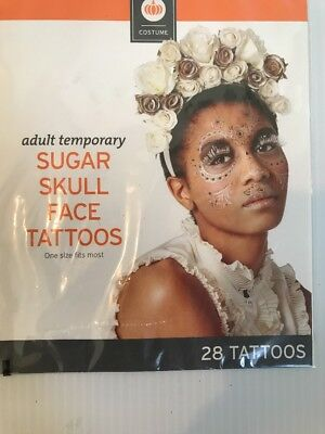 NIP Adult Temporary Day Of The Dead Sugar Skull Face Tattoos Halloween 28