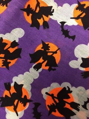 Halloween Witches Bats Purple Orange Moon Flying Broom Hallmark Wamsutta 1 Yard (Orange Moon Halloween)