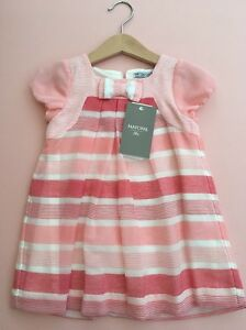 *MAYORAL CHIC* girls NEW Striped Dress Coral (12-18 months) 18M 517
