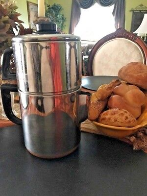 VTG Ekco Ware Copper Clad Stainless Steel Stove top Drip Espresso Coffee Maker   for sale  Youngtown