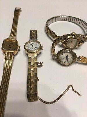 Lot Of 4 Vintage Watches Caravelle, Wittnauer, Buren Parts Repair