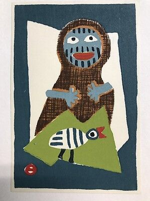 Japanese Woodblock Print Azechi Umetaro A Man And A Bird 6.25 X 4