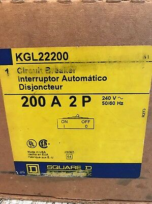 Square D Kgl22200 Circuit Breaker 2 Pole 200 Amp. New In Box
