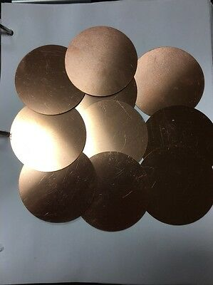 "Round Circle Copper Disc 3"" Round 16oz Copper  24ga. Windchime, Engrave, Jewlery"