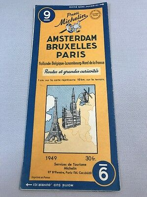 Card Michelin No 9 Amsterdam-Brussels-Paris 1949/Collector Bibendum Vintage