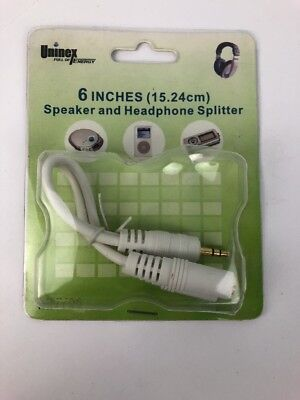"""Speaker and Headphone Splitter Cable (White) 6"""" Uninex for sale  Shipping to India"""