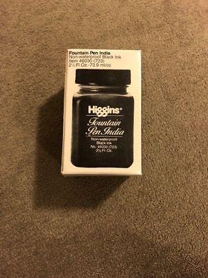 HIGGINS FOUNTAIN PEN INDIA INK Black Ink 2.5 Oz Bottle (46030)