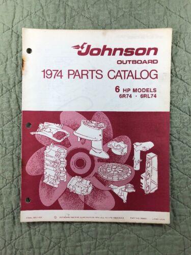 1974 JOHNSON OMC PARTS CATALOG LIST MANUAL 6 HP MODELS P/N 386551 DEALER VINTAGE