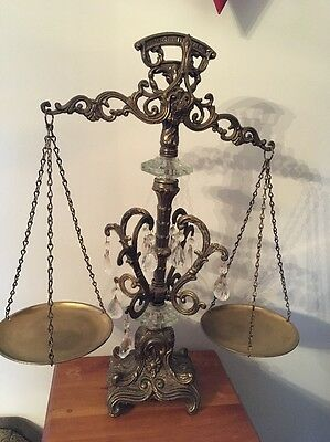 """VINTAGE ORNATE METAL SCALE OF JUSTICE  W GLASS PRISMS - Nice 21"""" Tall"""