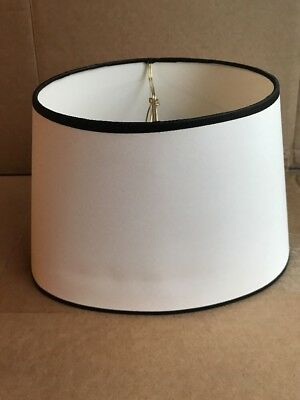 """Clip-On Lamp Shades Oval White With Black Trim 8"""" Tall 12"""" Wide Fabric New"""