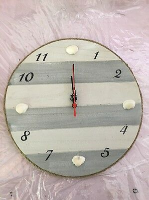 (Wood Nautical Seashell Clock Stripes New)