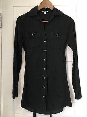 JAMES PERSE Stretch Cotton Long Sleeve Button Down Tunic Shirt 1 P XS S Small
