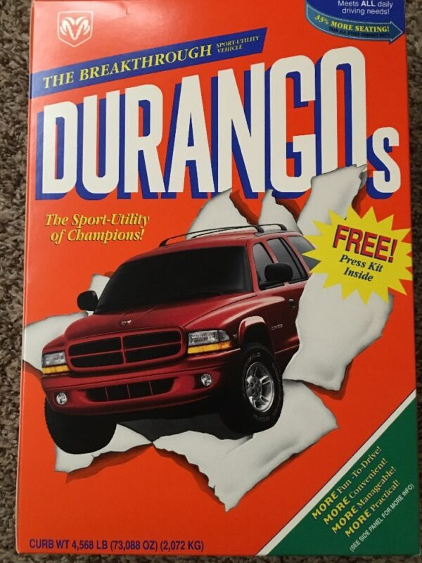 Chrysler Dodge Durango Press Kit Durangos Cereal Box Mint Sealed Contents