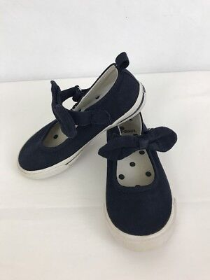 Girls Gymboree Navy Blue Bow Sneakers 10 Toddler White