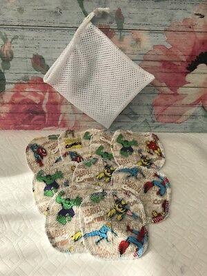 Reusable Makeup Pads / Wipes x 8 Eye Make Up Remover Washable & Wash Bag Marvel