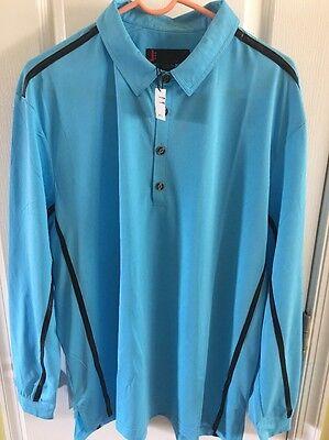 NWT Jamie Sadock Men's Blue Long Sleeve Polo Golf Shirt Size Large