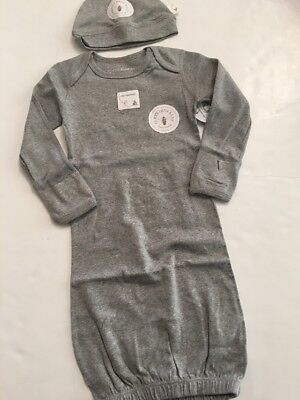 Burts Bees Baby Boy Girl Organic Gown Hat Size 0-6 Months Gray Solid Layette