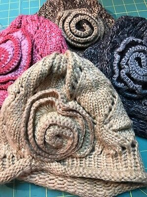 NEW Knit Lattice Pattern Flower Detail Beanie Acrylic Hat Choose Color FREE -