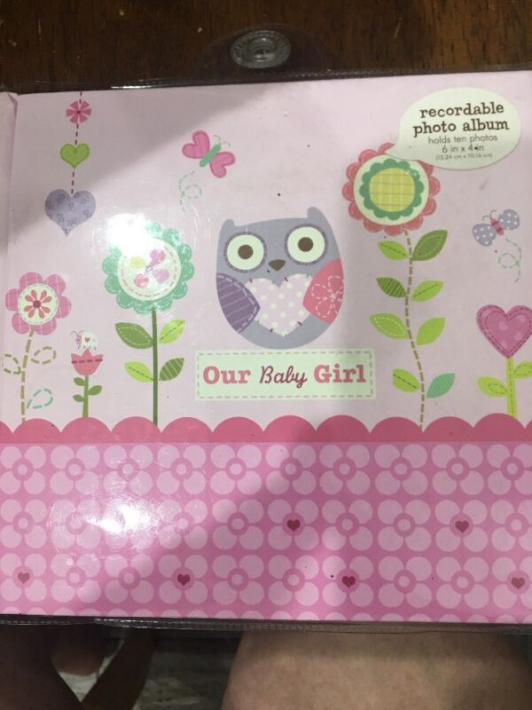 C.R. Gibson Stepping Stones Recordable Photo Album Our Baby Girl owl