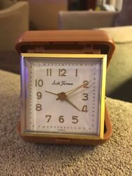 Vintage Seth Thomas Square Travel Alarm Clock Wind-up (JL)