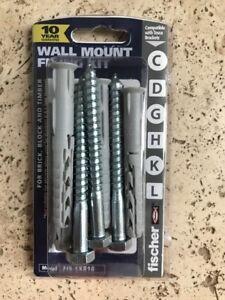 Fischer Wall Mount TV Bracket Fixing Kit High Quality 4x plug/bolt set