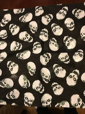 BANDANAS SKULL HEAD BLACK White & Olive HEAD WRAP BIKER SCARF 23x23