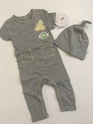 Burts Bees Baby Boy Organic Coverall Hat Size 3 6 9 12 18 Months Grey Layette