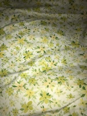 Vintage Twin Green Floral Cannon Royal Family Twin Flat Sheet Linens Bedding