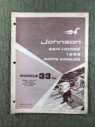 1969 JOHNSON OMC PARTS CATALOG LIST MANUAL 33 HP MODELS P/N 383870 DEALER