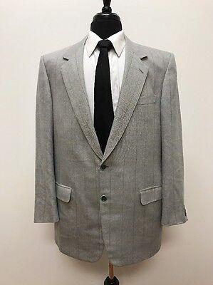 $3,974 Brioni Men's Italian Light Gray Textured Plaid Wool Silk Blazer Size 46L