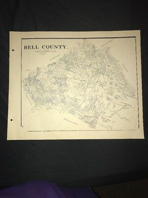 1896 BELL COUNTY TEXAS MAP LAND OFFICE AUSTIN BLUE LINE ANTIQUE VINTAGE