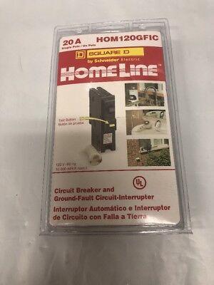 Square D Homeline Hom120gfic Hom120gfi 20a Gfi Breaker New Sealed