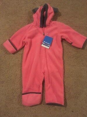 Nwts Columbia Infant Girls Tiny Bear Ii Bunting Fleece Suit Geranium Sz 6 12 Mth