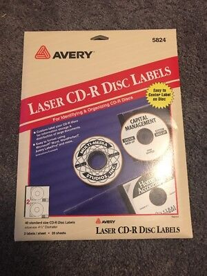 Avery 5824 White Laser Cd-r Disc Labels 40 Labels 4-12